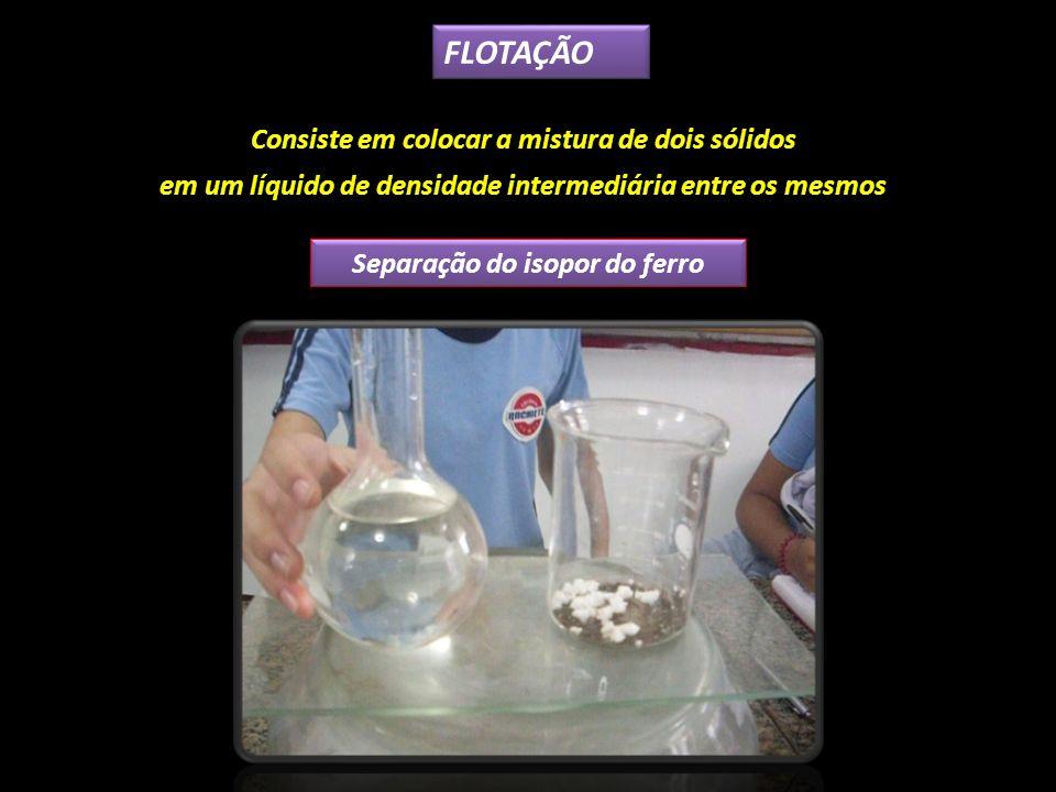 FLOTAÇÃO Consiste em colocar a mistura de dois sólidos em um líquido de densidade intermediária entre os mesmos Separação do isopor do ferro