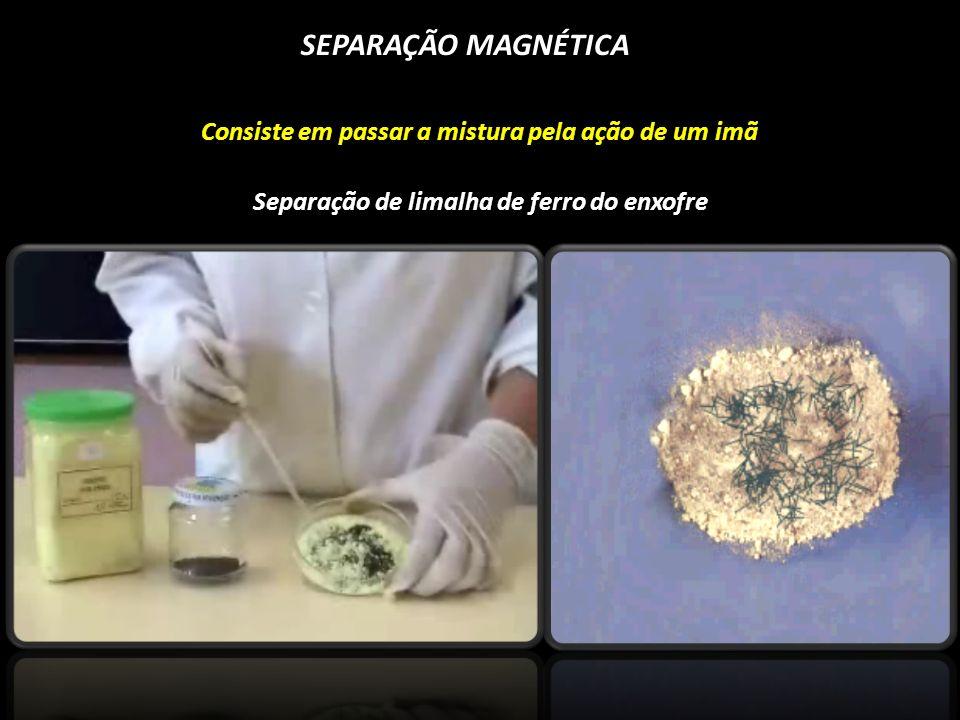 SEPARAÇÃO MAGNÉTICA Consiste em passar a mistura pela ação de um imã Separação de limalha de ferro do enxofre
