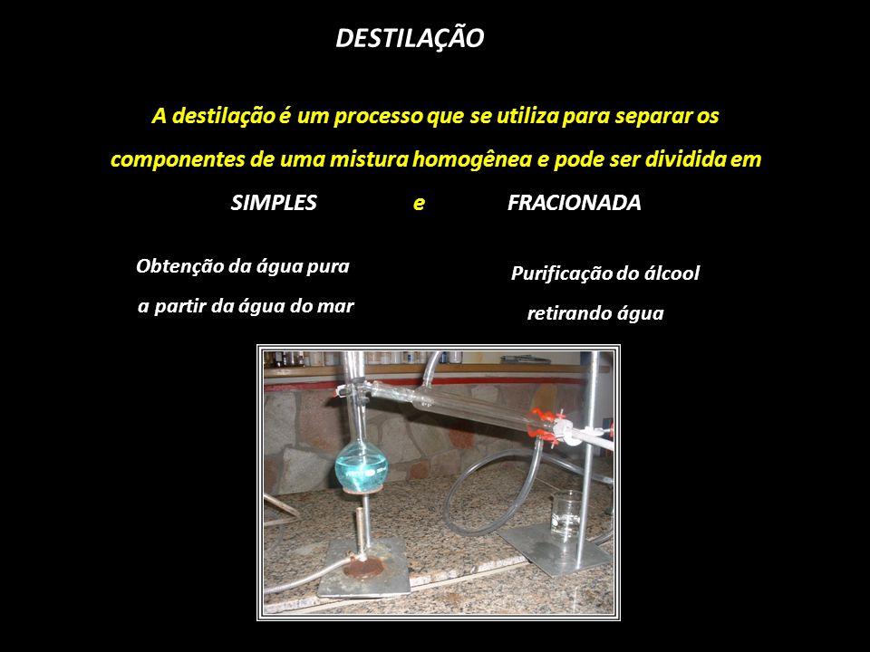 DESTILAÇÃO A destilação é um processo que se utiliza para separar os componentes de uma mistura homogênea e pode ser dividida em SIMPLES e FRACIONADA