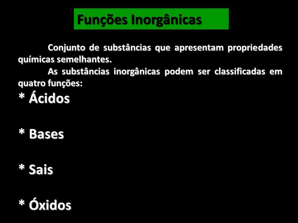 Conjunto de substâncias que apresentam propriedades químicas semelhantes. As substâncias inorgânicas podem ser classificadas em quatro funções: * Ácid