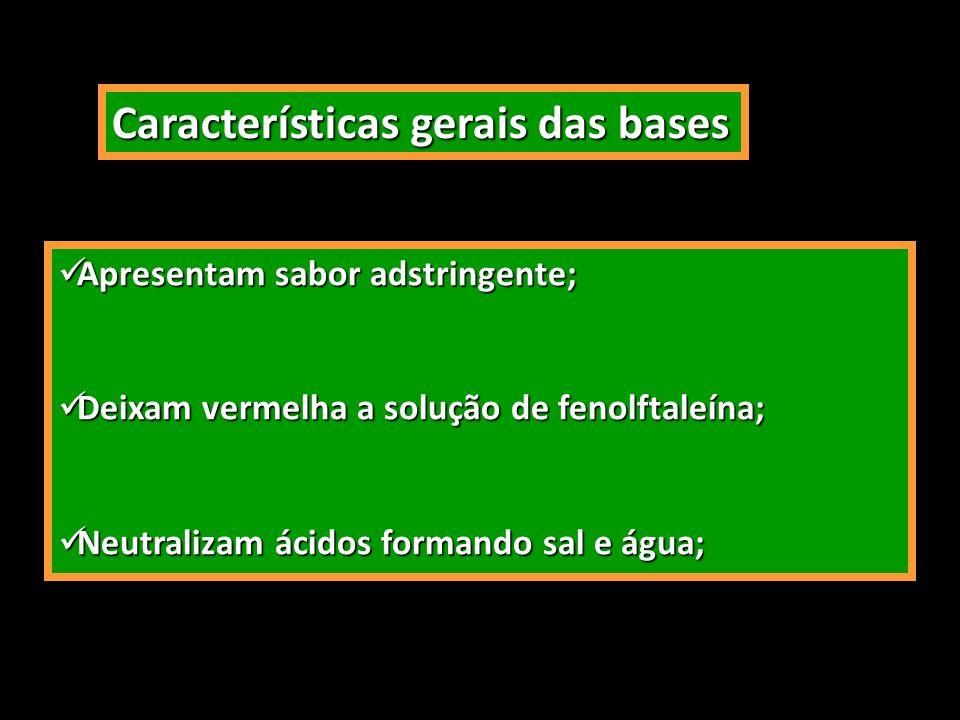 Características gerais das bases Apresentam sabor adstringente; Apresentam sabor adstringente; Deixam vermelha a solução de fenolftaleína; Deixam verm