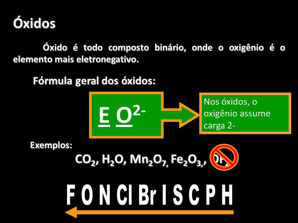 Óxidos Óxido é todo composto binário, onde o oxigênio é o elemento mais eletronegativo. Fórmula geral dos óxidos: Exemplos: CO 2, H 2 O, Mn 2 O 7, Fe