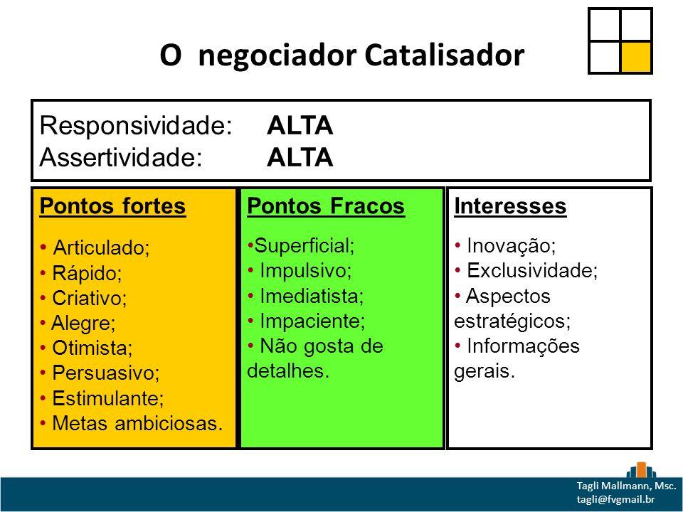 O negociador Catalisador Responsividade: ALTA Assertividade:ALTA Pontos fortes Articulado; Rápido; Criativo; Alegre; Otimista; Persuasivo; Estimulante; Metas ambiciosas.
