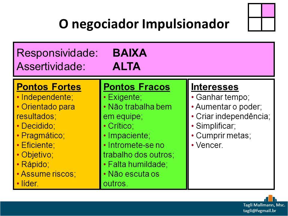 O negociador Impulsionador Pontos Fortes Independente; Orientado para resultados; Decidido; Pragmático; Eficiente; Objetivo; Rápido; Assume riscos; líder.