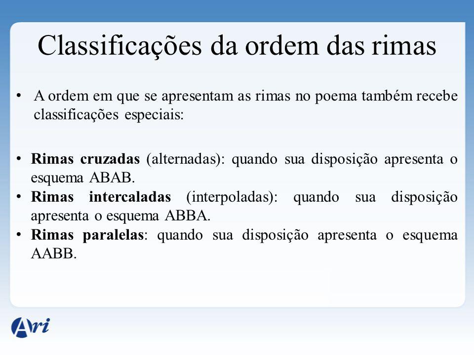 Classificações da ordem das rimas A ordem em que se apresentam as rimas no poema também recebe classificações especiais: Rimas cruzadas (alternadas):