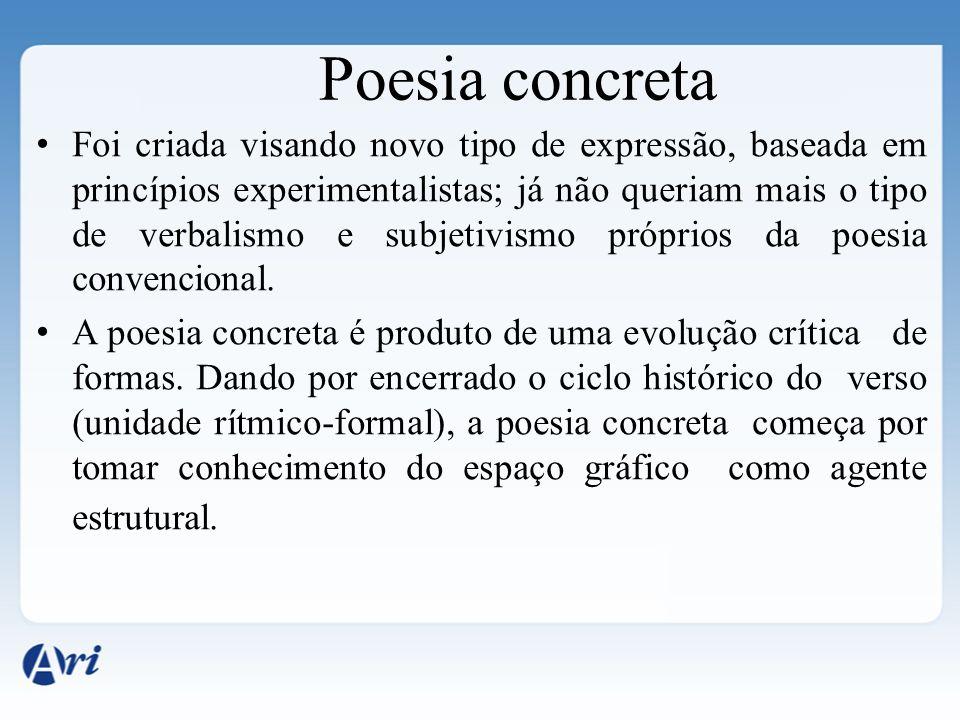 Poesia concreta Foi criada visando novo tipo de expressão, baseada em princípios experimentalistas; já não queriam mais o tipo de verbalismo e subjeti