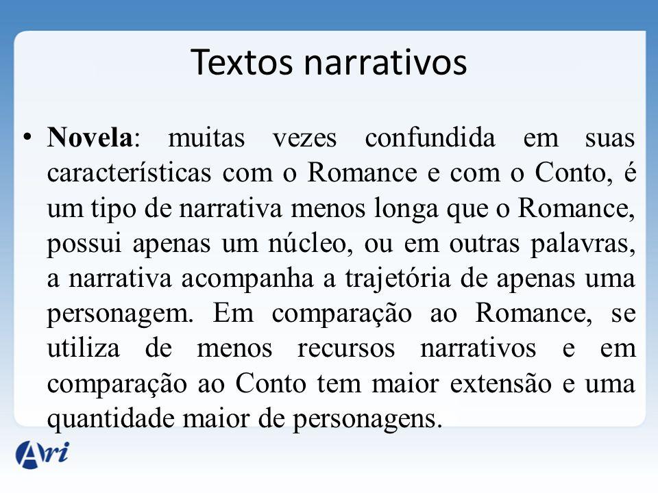 Novela: muitas vezes confundida em suas características com o Romance e com o Conto, é um tipo de narrativa menos longa que o Romance, possui apenas u