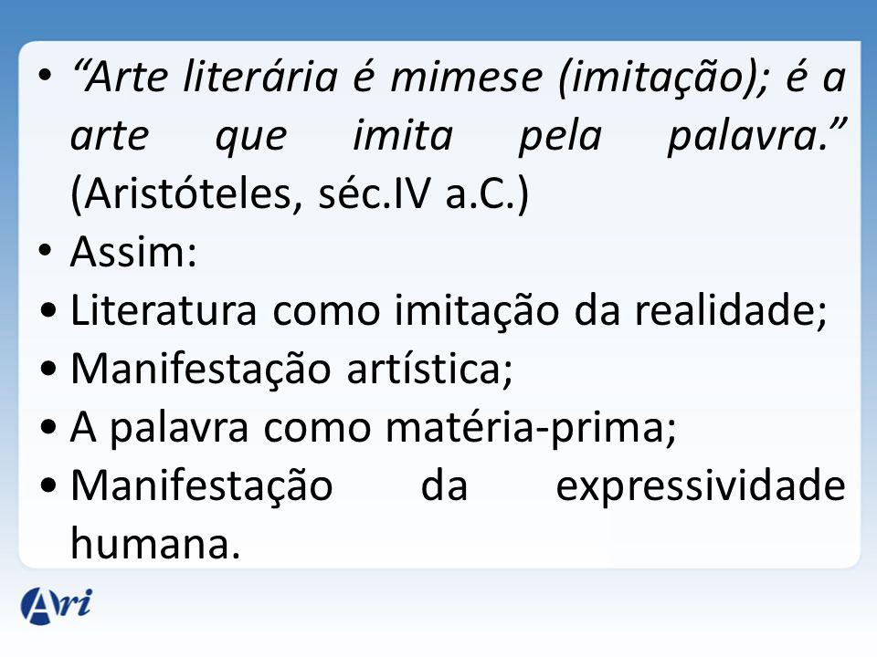 Arte literária é mimese (imitação); é a arte que imita pela palavra. (Aristóteles, séc.IV a.C.) Assim: Literatura como imitação da realidade; Manifest
