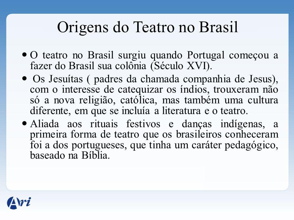 Origens do Teatro no Brasil O teatro no Brasil surgiu quando Portugal começou a fazer do Brasil sua colônia (Século XVI). Os Jesuítas ( padres da cham