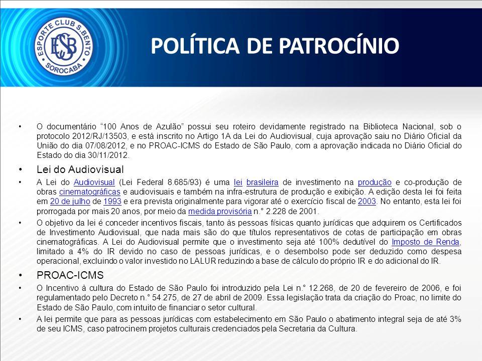 O documentário 100 Anos de Azulão possui seu roteiro devidamente registrado na Biblioteca Nacional, sob o protocolo 2012/RJ/13503, e está inscrito no