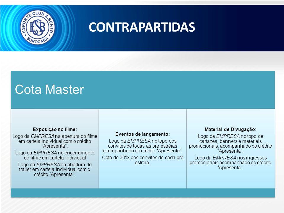 Cota Master Exposição no filme: Logo da EMPRESA na abertura do filme em cartela individual com o crédito Apresenta; Logo da EMPRESA no encerramento do