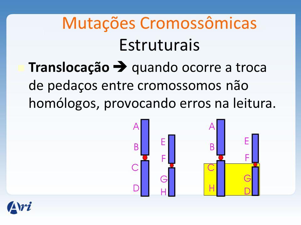 Mutações Cromossômicas Estruturais Translocação quando ocorre a troca de pedaços entre cromossomos não homólogos, provocando erros na leitura.