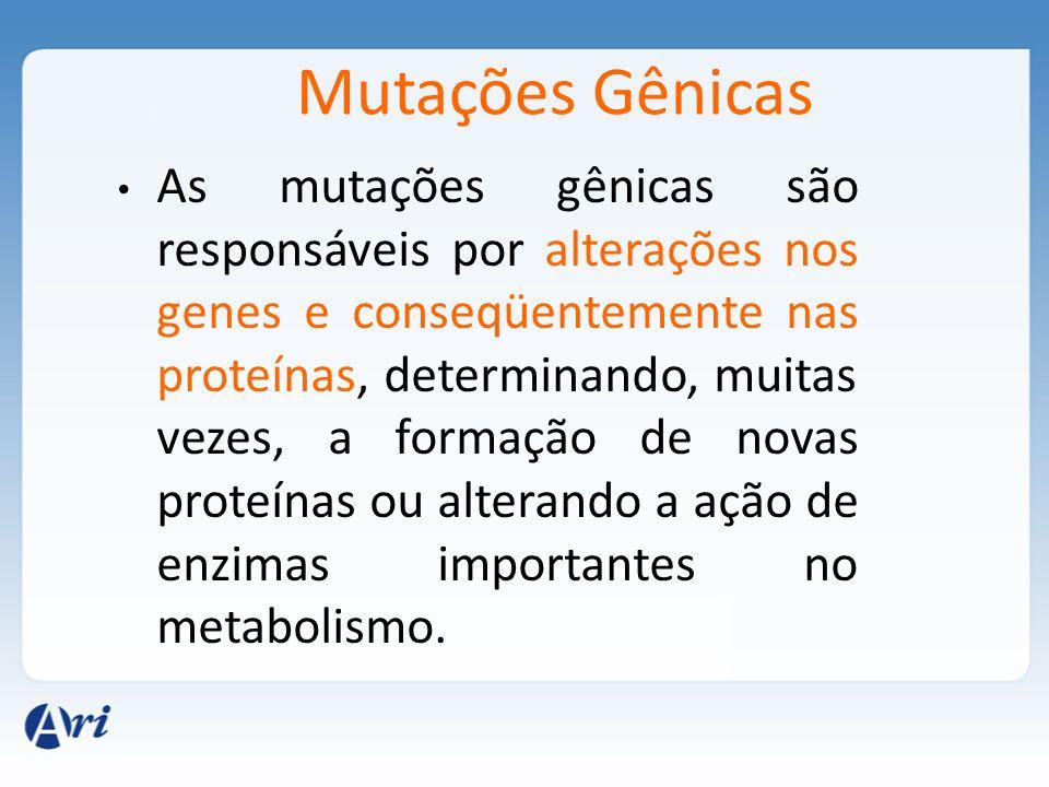 Mutações Gênicas As mutações gênicas são responsáveis por alterações nos genes e conseqüentemente nas proteínas, determinando, muitas vezes, a formaçã