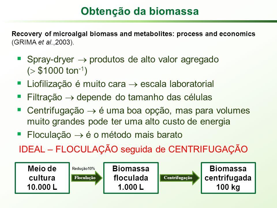 Obtenção da biomassa Recovery of microalgal biomass and metabolites: process and economics (GRIMA et al.,2003).