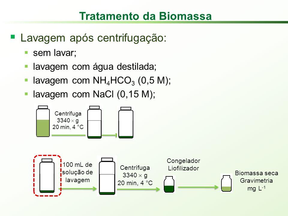 Tratamento da Biomassa Lavagem após centrifugação: sem lavar; lavagem com água destilada; lavagem com NH 4 HCO 3 (0,5 M); lavagem com NaCl (0,15 M); 100 mL de solução de lavagem Centrífuga 3340 g 20 min, 4 °C Congelador Liofilizador Biomassa seca Gravimetria mg L -1 Centrífuga 3340 g 20 min, 4 °C