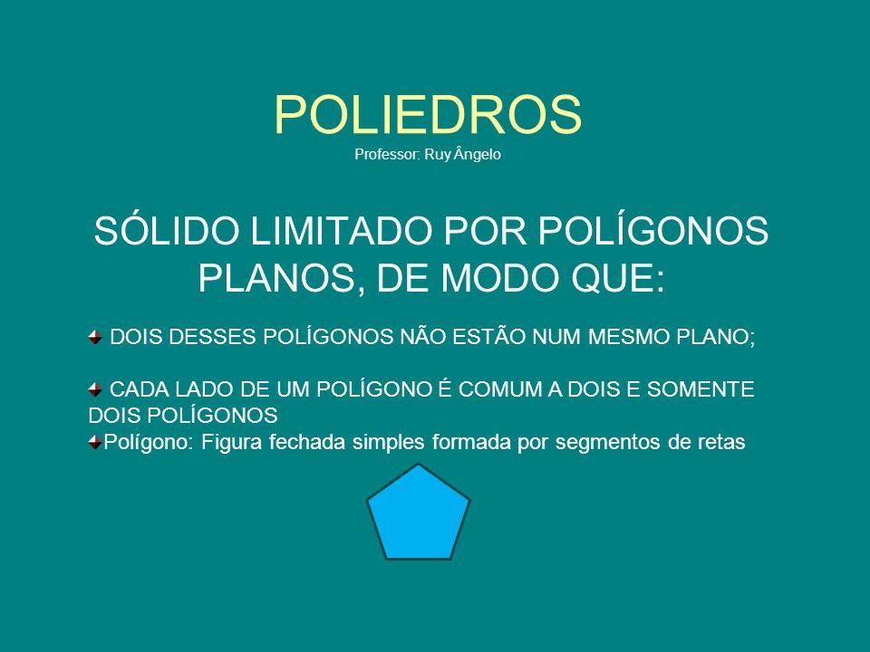 POLIEDROS Professor: Ruy Ângelo SÓLIDO LIMITADO POR POLÍGONOS PLANOS, DE MODO QUE: DOIS DESSES POLÍGONOS NÃO ESTÃO NUM MESMO PLANO; CADA LADO DE UM PO
