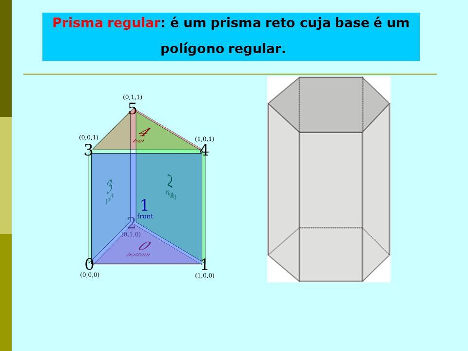 Prisma regular: é um prisma reto cuja base é um polígono regular.