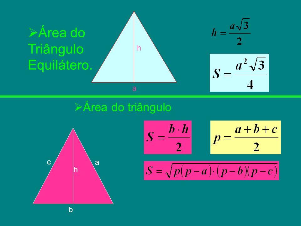 h a c b a h Área do triângulo Área do Triângulo Equilátero.