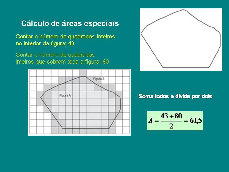 Cálculo de áreas especiais Contar o número de quadrados inteiros no interior da figura; 43 Contar o número de quadrados inteiros que cobrem toda a fig