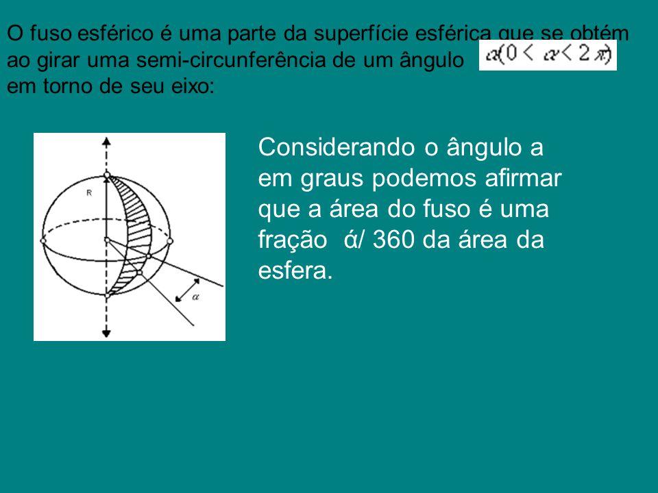 O fuso esférico é uma parte da superfície esférica que se obtém ao girar uma semi-circunferência de um ângulo em torno de seu eixo: Considerando o âng