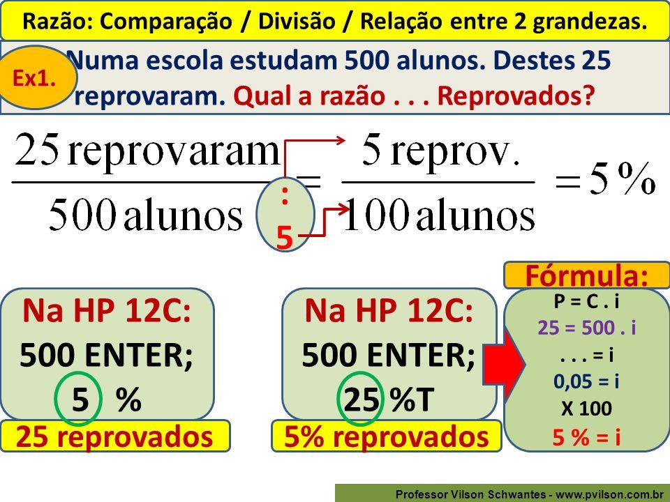 Professor Vilson Schwantes - www.pvilson.com.br Razão: Comparação / Divisão / Relação entre 2 grandezas.