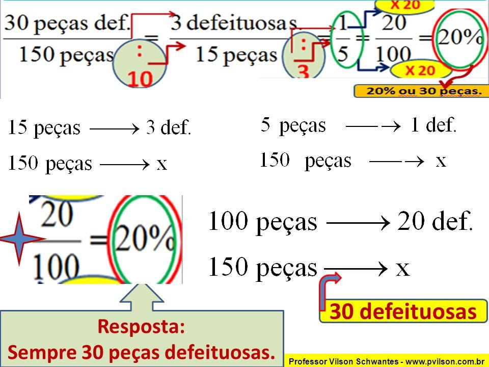 Professor Vilson Schwantes - www.pvilson.com.br Resposta: Sempre 30 peças defeituosas.