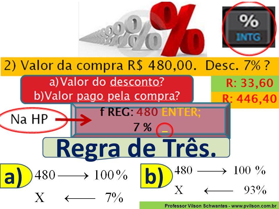 Professor Vilson Schwantes - www.pvilson.com.br Regra de Três. a)b)
