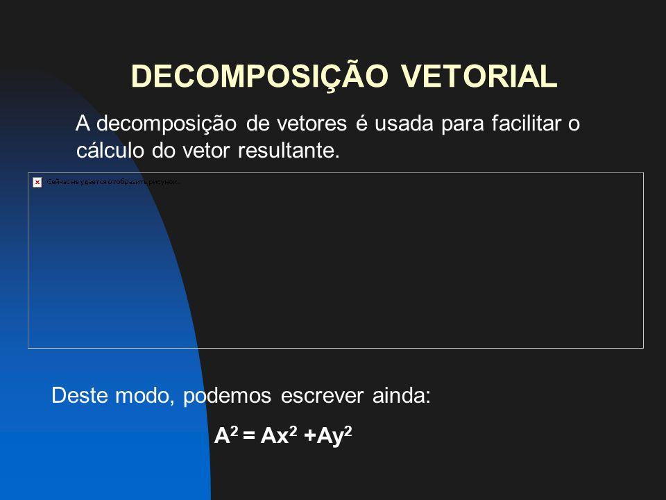 DECOMPOSIÇÃO VETORIAL A decomposição de vetores é usada para facilitar o cálculo do vetor resultante.