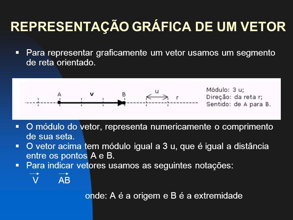 REPRESENTAÇÃO GRÁFICA DE UM VETOR Para representar graficamente um vetor usamos um segmento de reta orientado.