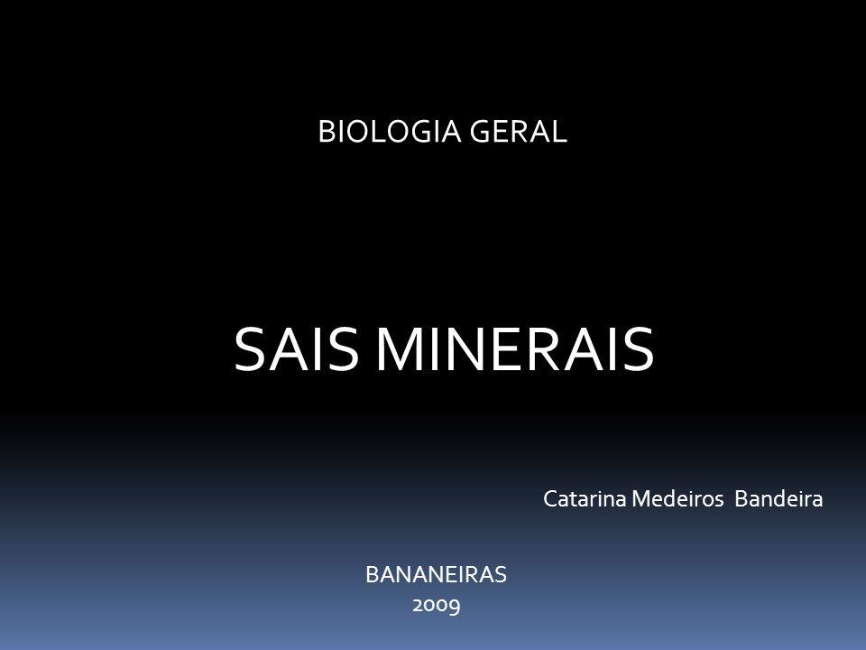 BIOLOGIA GERAL SAIS MINERAIS BANANEIRAS 2009 Catarina Medeiros Bandeira
