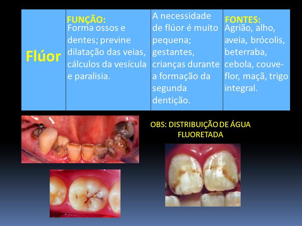 Flúor Forma ossos e dentes; previne dilatação das veias, cálculos da vesícula e paralisia. A necessidade de flúor é muito pequena; gestantes, crianças