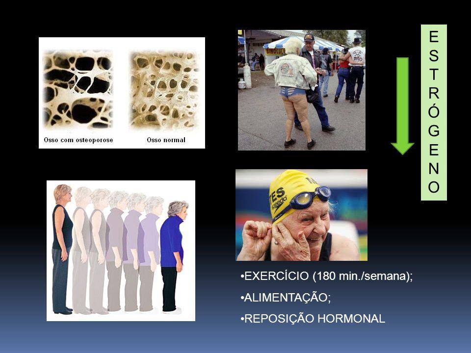 ESTRÓGENOESTRÓGENO EXERCÍCIO (180 min./semana); ALIMENTAÇÃO; REPOSIÇÃO HORMONAL