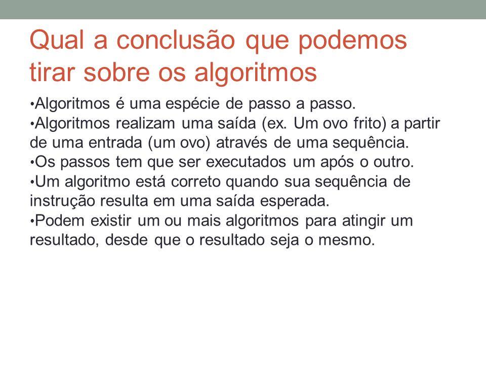 Qual a conclusão que podemos tirar sobre os algoritmos Algoritmos é uma espécie de passo a passo. Algoritmos realizam uma saída (ex. Um ovo frito) a p