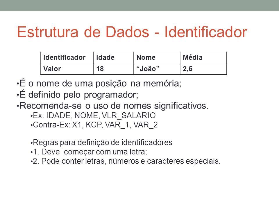 Estrutura de Dados - Identificador É o nome de uma posição na memória; É definido pelo programador; Recomenda-se o uso de nomes significativos. Ex: ID