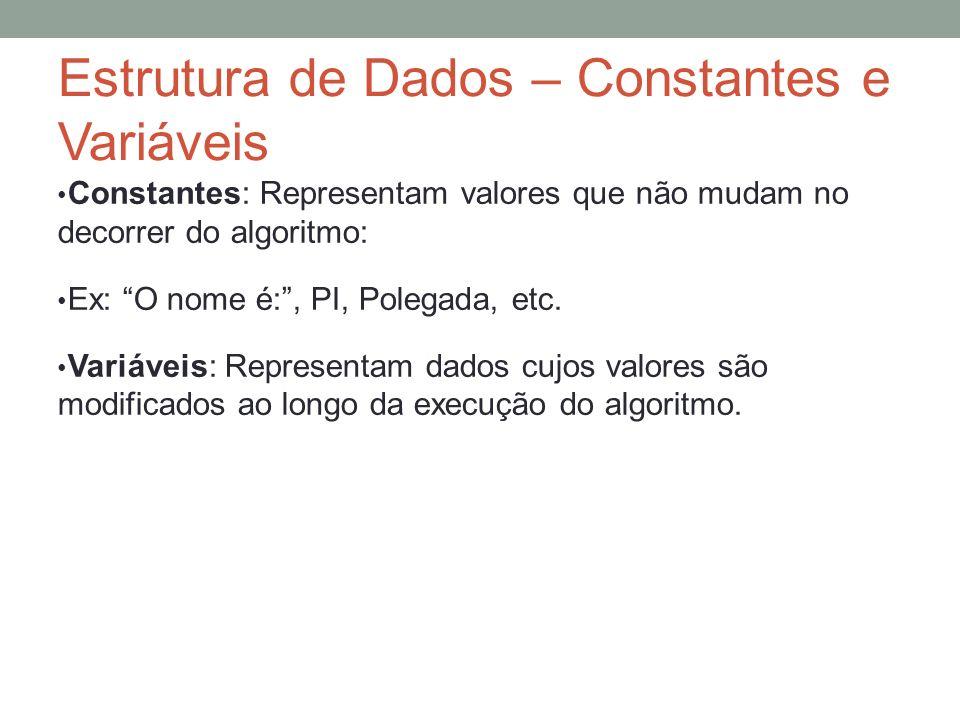 Estrutura de Dados – Constantes e Variáveis Constantes: Representam valores que não mudam no decorrer do algoritmo: Ex: O nome é:, PI, Polegada, etc.