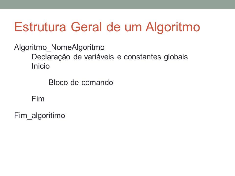 Estrutura Geral de um Algoritmo Algoritmo_NomeAlgoritmo Declaração de variáveis e constantes globais Inicio Bloco de comando Fim Fim_algoritimo
