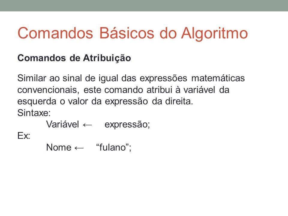 Comandos Básicos do Algoritmo Comandos de Atribuição Similar ao sinal de igual das expressões matemáticas convencionais, este comando atribui à variáv