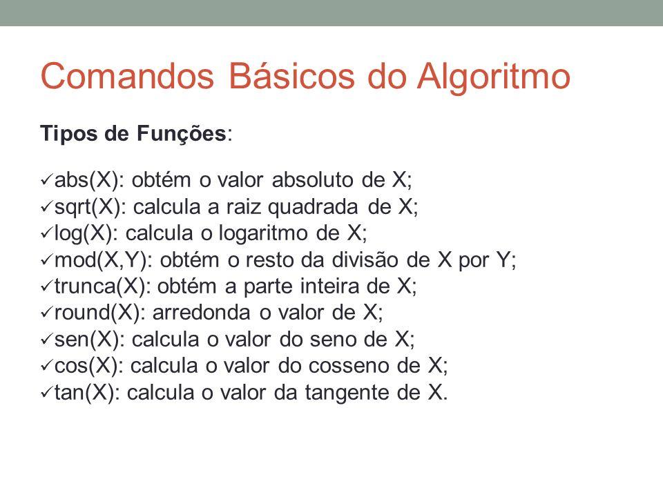 Comandos Básicos do Algoritmo Tipos de Funções: abs(X): obtém o valor absoluto de X; sqrt(X): calcula a raiz quadrada de X; log(X): calcula o logaritm