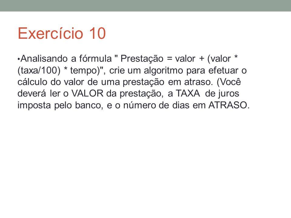 Exercício 10 Analisando a fórmula