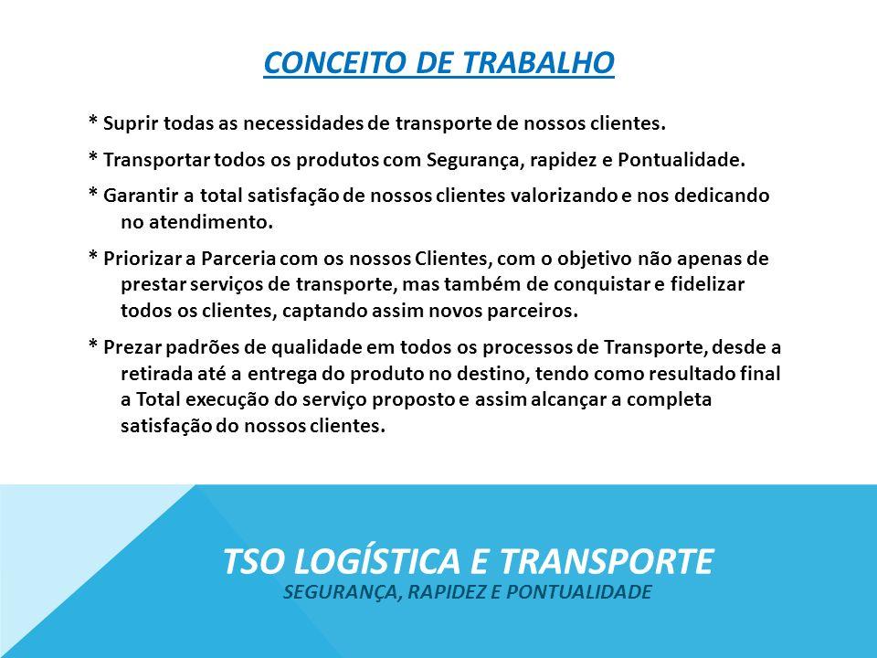 CONCEITO DE TRABALHO * Suprir todas as necessidades de transporte de nossos clientes. * Transportar todos os produtos com Segurança, rapidez e Pontual