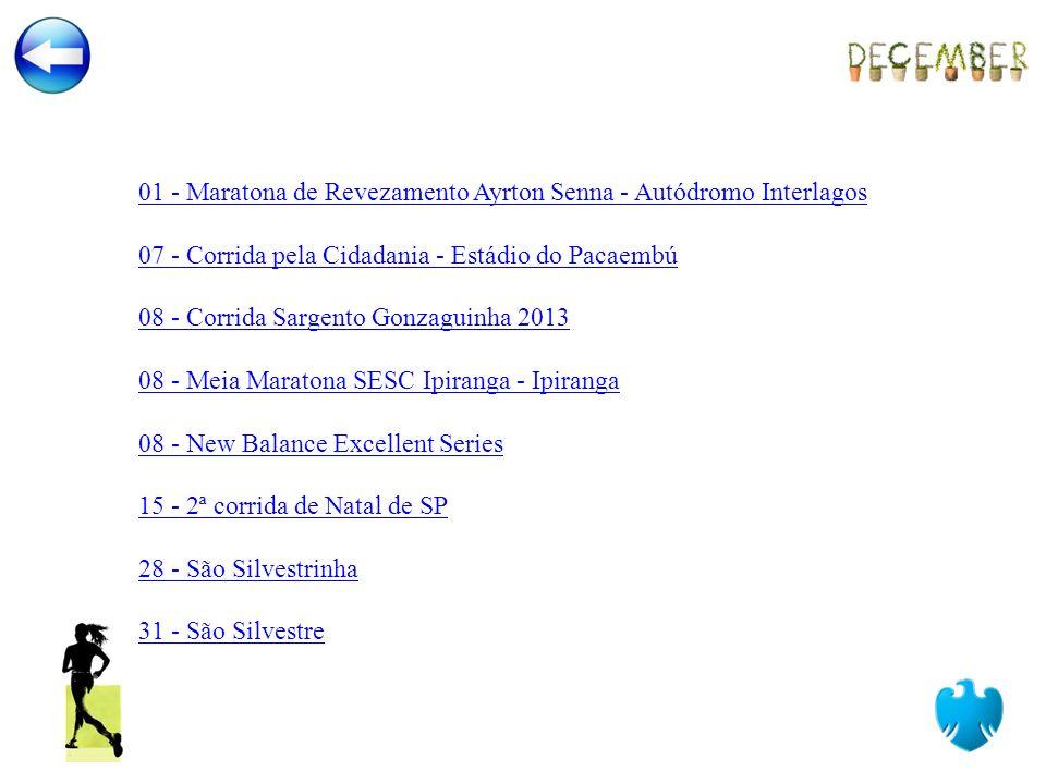 01 - Maratona de Revezamento Ayrton Senna - Autódromo Interlagos 07 - Corrida pela Cidadania - Estádio do Pacaembú 08 - Corrida Sargento Gonzaguinha 2