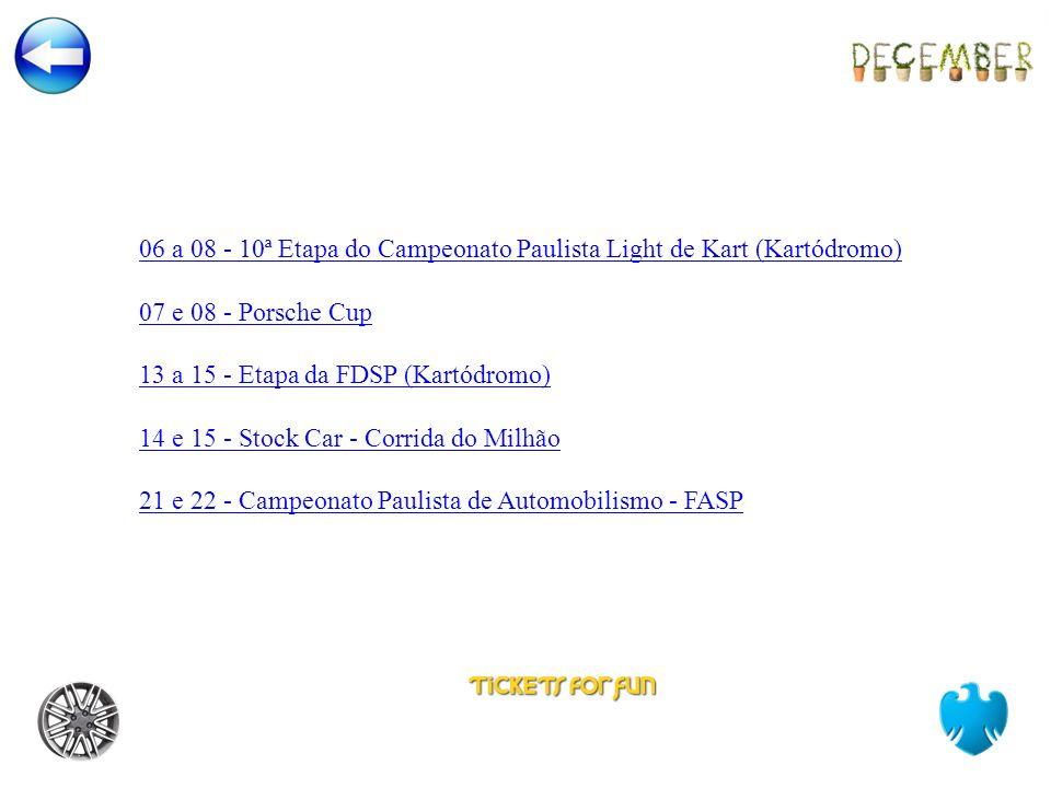 06 a 08 - 10ª Etapa do Campeonato Paulista Light de Kart (Kartódromo) 07 e 08 - Porsche Cup 13 a 15 - Etapa da FDSP (Kartódromo) 14 e 15 - Stock Car - Corrida do Milhão 21 e 22 - Campeonato Paulista de Automobilismo - FASP