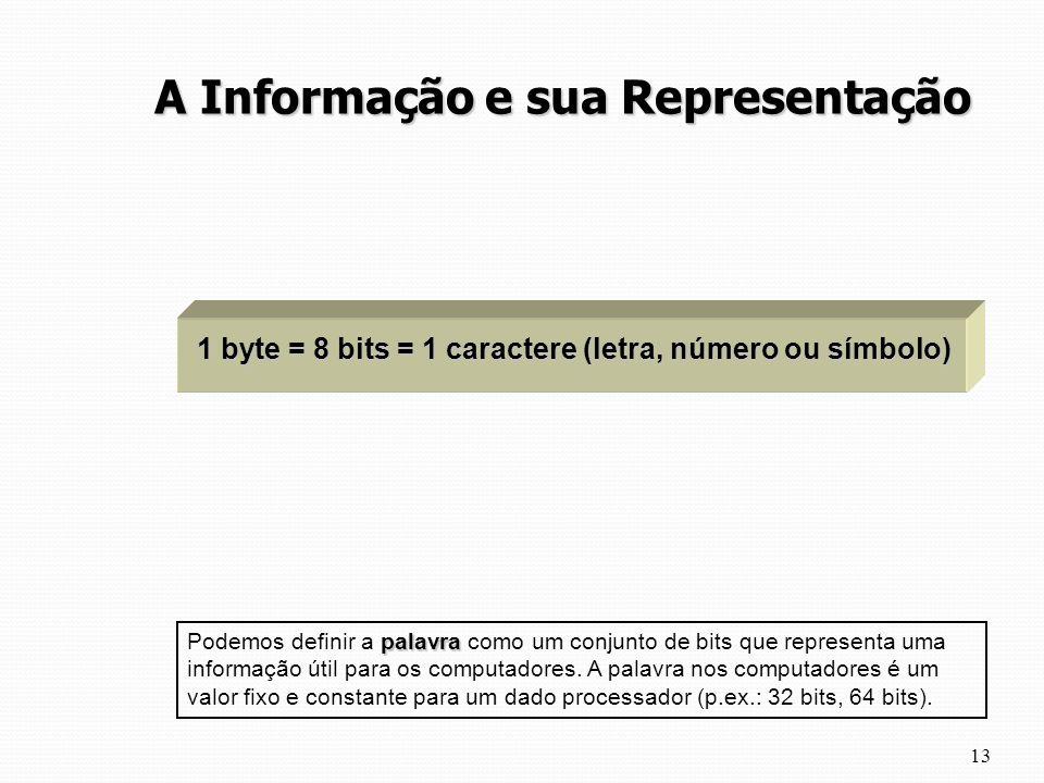 13 A Informação e sua Representação 1 byte = 8 bits = 1 caractere (letra, número ou símbolo) palavra Podemos definir a palavra como um conjunto de bit