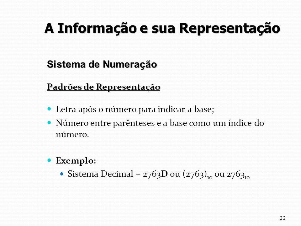 Padrões de Representação Letra após o número para indicar a base; Número entre parênteses e a base como um índice do número. Exemplo: Sistema Decimal