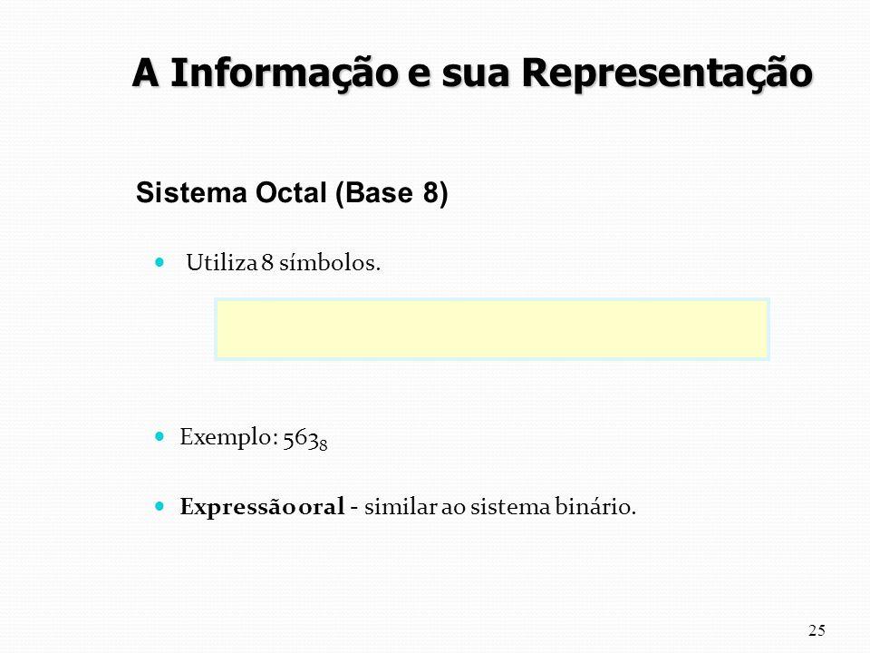 Utiliza 8 símbolos. 0 1 2 3 4 5 6 7 Exemplo: 563 8 Expressão oral - similar ao sistema binário. 25 Sistema Octal (Base 8) A Informação e sua Represent