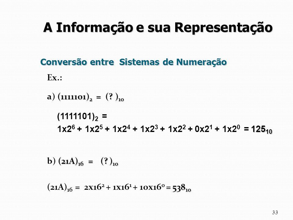Conversão entre Sistemas de Numeração Ex.: (1111101) 2 = (? ) 10 a) (1111101) 2 = (? ) 10 (21A) 16 = (? ) 10 b) (21A) 16 = (? ) 10 538 10 (21A) 16 = 2
