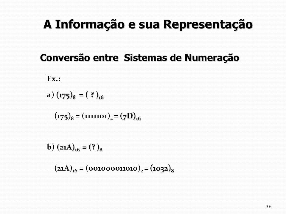 Ex.: (175) 8 = ( ? ) 16 a) (175) 8 = ( ? ) 16 (7D) 16 (175) 8 = (1111101) 2 = (7D) 16 (21A) 16 = (? ) 8 b) (21A) 16 = (? ) 8 (1032) 8 (21A) 16 = (0010