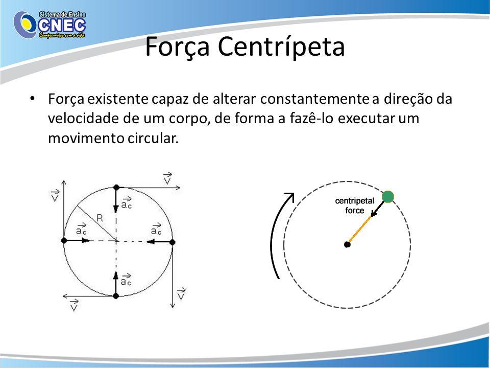 Força Centrípeta Força existente capaz de alterar constantemente a direção da velocidade de um corpo, de forma a fazê-lo executar um movimento circula