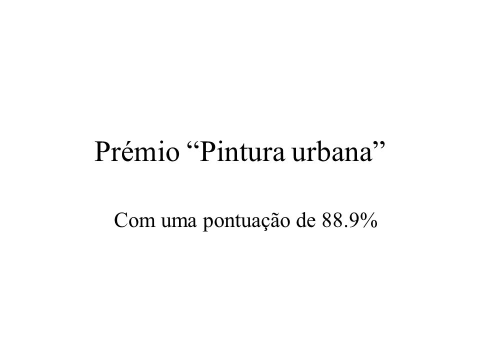 Prémio Pintura urbana Com uma pontuação de 88.9%