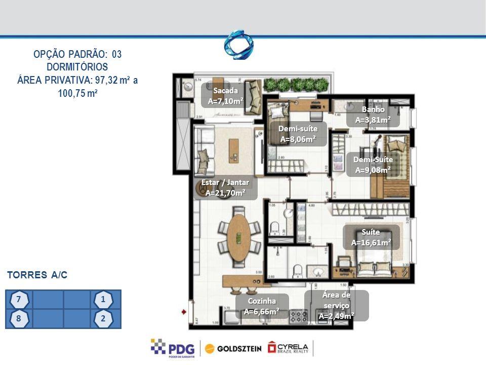 OPÇÃO PADRÃO: 03 DORMITÓRIOS ÁREA PRIVATIVA: 97,32 m² a 100,75 m² TORRES A/C SacadaA=7,10m² Estar / Jantar A=21,70m² Demi-suíteA=8,06m² Demi-SuíteA=9,